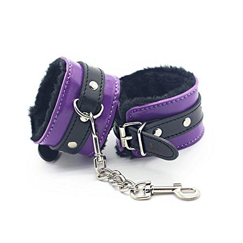 BONDAGERIE® Manette in Ecopelle, bicolor Nero e Viola BDSM, con cinturino regolabile, Bondage