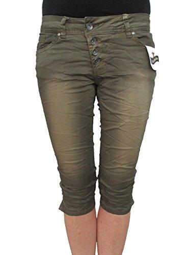Buena Vista Damen Jeans Malibu Krempel Shorts Bermuda Hose Capri Denim (XS-34, Aloe Green) (Damen-stretch-twill-bermuda)