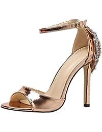 dc2de60105d HhGold Zapatos de Corte de Sandalias de Diamantes de Oro Rosa para Mujeres