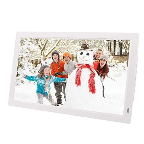 RENYAYA 19 Zoll Digitaler Bilderrahmen 16: 9 Werbeträger-Bilderrahmen mit hochauflösendem LED-Bildschirm und Fernbedienung sowie Zeitschaltuhr mit Rollentitel,White