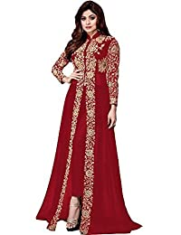 AnK Women's Embroidered Long Anarkali Semi-Stitched Salwar Suit