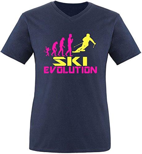 EZYshirt® Ski Evolution Herren V-Neck T-Shirt Navy/Pink/Gelb