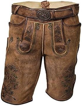 Trachten Herren Lederhose Kurz antikbraun, mit Gürtel, Trachtenlederhose Größe 46-58