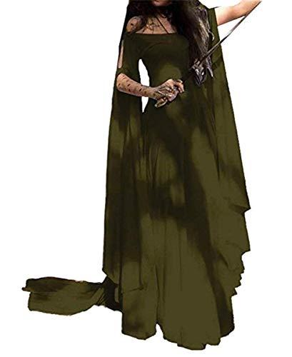 Stiefel Kostüm Viktorianische - IWFREE Damen Retro Mittelalter Kleid Renaissance Viktorianisch Cosplay Kostüm Langarm Prinzessin Gotik Lang Abendkleid für Weihnachts Halloween Karneval Party Cocktail Maxikleid mit Ausgestellte Ärmel