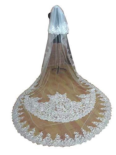 400cm 2 Schicht Brautschleier Schleier Hochzeit Blume Schnüren Appliques Dom Länge Dekorationen (Elfenbein, 400cm)