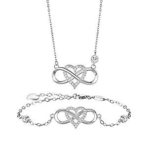 BlingGem Damen Schmuck-Set aus Weißgold plattiert 925 Sterling Silber mit Runde Zirkonia zum Valentinstag