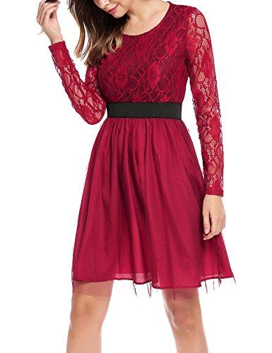 Parabler Damen Spitze Nähte 3/4 Ärmeln A-Linie O-Ansatz Hohe Taille Spitzenkleid Ballkleid Festliches Kleid Rot
