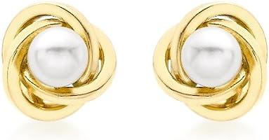 Carissima Gold Damen-Ohrringe 375 9 Karat (375) Gelbgold Tropfenform Synthetische Perle