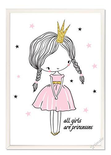 timalo® Kinderzimmerbild p015-a4 - für Mädchen Prinzessin mit Krone in rosa gold grau