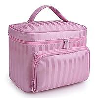 MoGist Wash Bag Plain Stripes Waterproof Travel Bag Large Capacity Portable Lady Cosmetic Bag Multifunction Wash Bag Toilet Bag, Pink, 1
