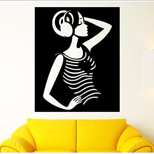 Ponana Wohnkultur Kunst Schöne Mädchen Wandaufkleber Abnehmbare Vinyl Mädchen Musik Stereo Kopfhörer Wandtattoos Musik Design Wandbild 57X70 Cm -