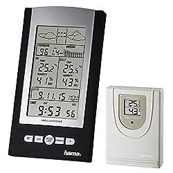 Hama Funk-Wetterstation mit Außen-Sensor (Thermometer, Hygrometer, Barometer, Außensensor mit hoher Reichweite, misst Innen- und Außen-Temperatur, inkl. DFC Funkuhr, Wanduhr) schwarz