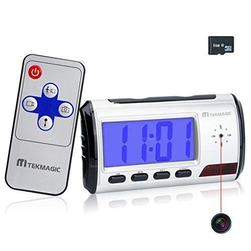 TEKMAGIC 8GB Reloj Despertador Cámara Espía Interior Detector de Movimiento Grabadora de Vídeo con Función de Grabación de Audio