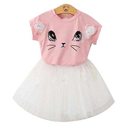 Baby Tutu Tulle Prinzessin Short-Kleid-Rock-nette Katze Kurzarmhemden