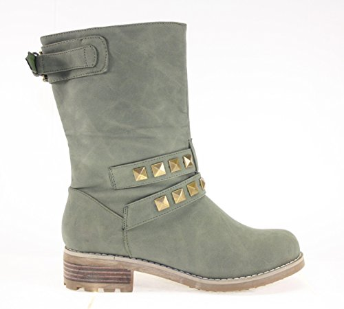 Boots Damenschuhe Farbe Olivgrün mit Nieten Olivgrün