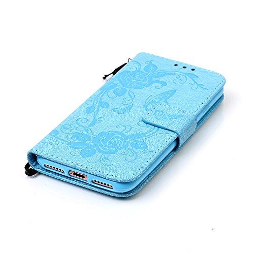 Coque pour Apple iPhone 7 4.7,Housse en cuir pour Apple iPhone 7 4.7,Ecoway Estampes papillon étui en cuir PU Cuir Flip Magnétique Portefeuille Etui Housse de Protection Coque Étui Case Cover avec Sta Sky Blue Butterfly Imprimer