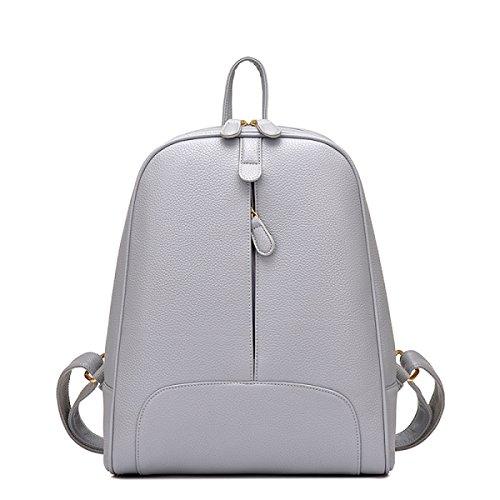 LAIDAYE Damen Schultertasche Rucksack Handtaschen College Wind Rucksack PU Schüler Taschen Grey