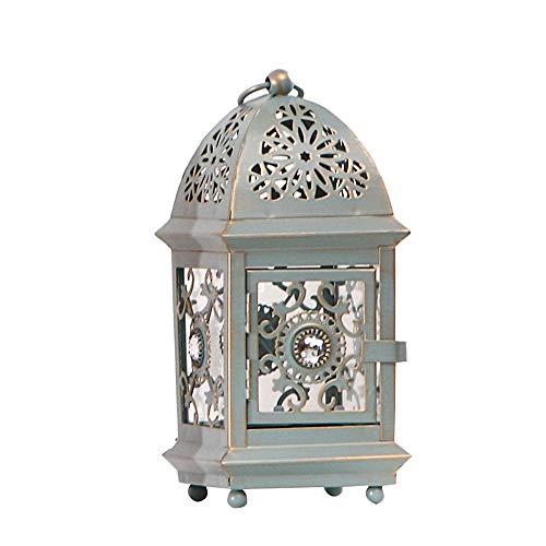 KMYX Kerzenständer Marokko-Laterne, Vintage, geschnitzt, Schmiedeeisern, Kerzenhalter, für Heimwerker, Kerzen, Laterne, kreative Ornamente, Hochzeitsgeschenke, Desktop-Display grün
