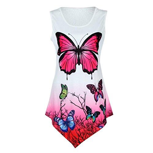 MRULIC Geschenk Zum Mode Frauen Lace Asymmetrische Schmetterling Ombre Farbdruck Weste Tank Tops (EU-42/CN-M, Weiß) (Arm-regal)