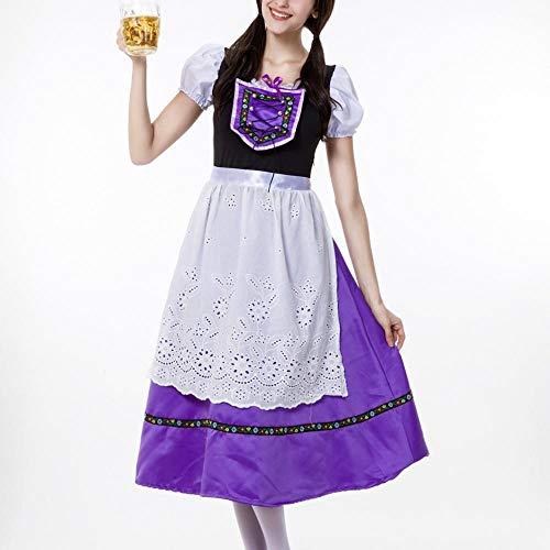 Stadt Kostüm Übergröße Party - NGHJF Bayerisches Oktoberfest Kostüm Barmaid Dirndl Kleid Bluse Schürze Dienstmädchen Kostüm Cosplay Kostüm Gr. 44, violett