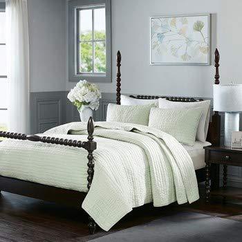 MADISON PARK SIGNATURE Serene Bettwäsche-Set aus Baumwolle, handgesteppt, für große und große Queen, Seafoam