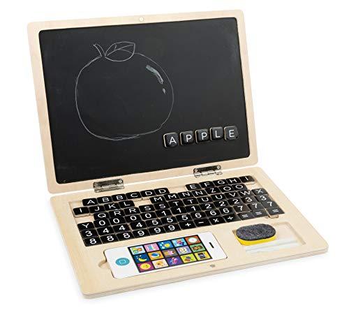 Small Foot 11193 Holz-Laptop Tafel, animiert Kinder zum ersten Schreiben und Rechnen, inkl. Zubehör Spielzeug, Mehrfarbig