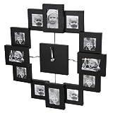 Wanduhr für 12 Fotos Bilderrahmen schwarz - Bilderrahmenuhr - Photoframe
