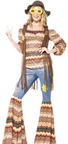 Fancy Ole - Damen Frauen Kostüm Hippie mit Weste, Top und Fackeln, L, (20 Halloween Top Kostüme Original)
