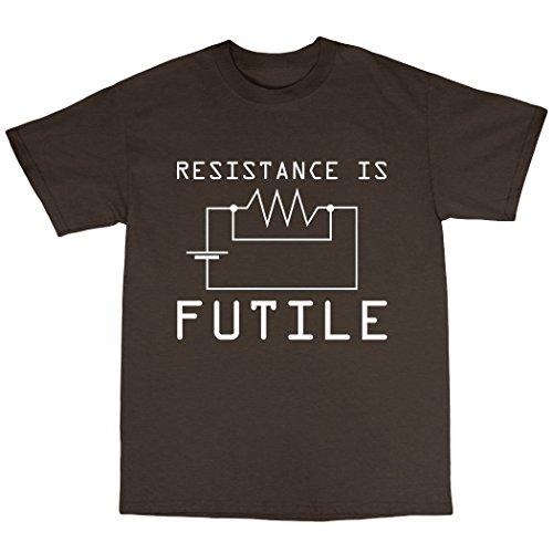 Resitance Is Futile T-Shirt 100% Baumwolle Zartbitter-Schokolade