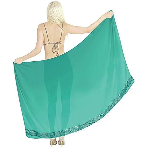 La Leela super leggero paillettes chiffon ricamato sarong 72x42inch lighgreen