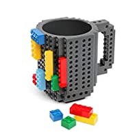 Mug Drink Cup Drinkware Building Blocks Block Puzzle Cup Build-On Brick Cups Lego Mugs Type Coffee Cup Office Gift (Grey)