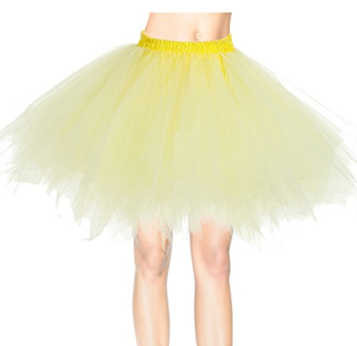 Dresstells Damen Tutu Unterkleid Kurz Ballett Tanzkleid Ballklei Abendkleid Gelegenheit Zubehör Yellow (Tippen Für Mädchen Tanz Kostüme)