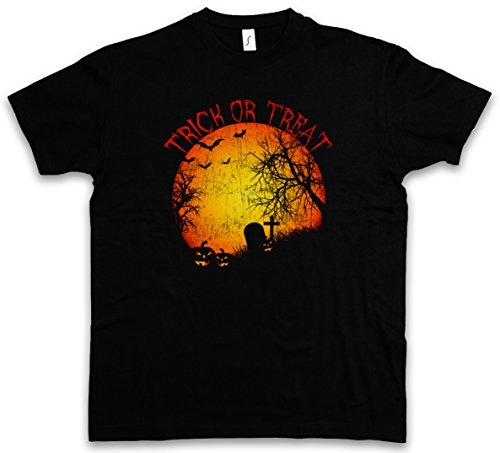 Urban Backwoods Trick Or Treat T-Shirt – la Tomba cimitero Zucca raggiante Graveyard Halloween Samhain USA Creature Splatter Gore Taglie S – 5XL Nero