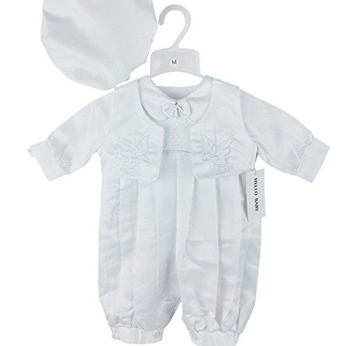 H/B 3pezzi raso ricamo croce battesimo Tutina con cappello pieno lunghezza (newborn-2t) 0691 Bianco white XL (19-24months)