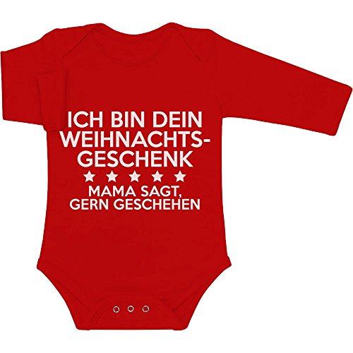 Ich Bin Dein Weihnachtsgeschenk - Geschenk für Papa Baby Langarm Body 81/86 (12-18M) Rot