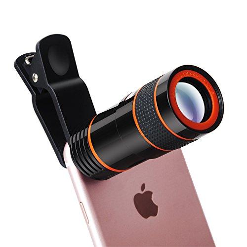Yarrashop 8X Teleobjektiv Handy Zoom Clip on Tele Linse Universal Kamera Zubehör HD Optischer Zoom Lens Aufsatz Set für Android/IOS Smart Phone