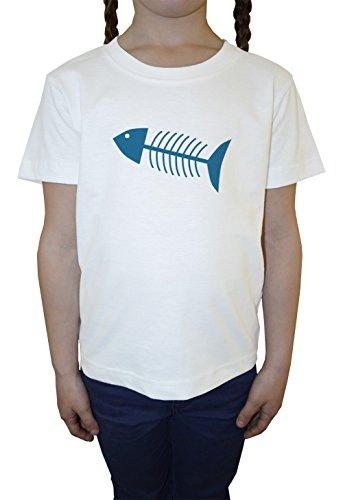 poisson-os-blanc-coton-filles-enfants-t-shirt-col-ras-du-cou-manches-courtes-white-girls-kids-t-shir