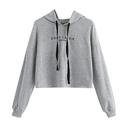 Damen Teenager Mädchen Pullover Hoodie Frauen Pulli Crop Tops MYMYG Langarm Kurz Sweatshirt Langarmshirt Oberteile Hoodie Crop Tops(Grau,EU:36/CN-M)