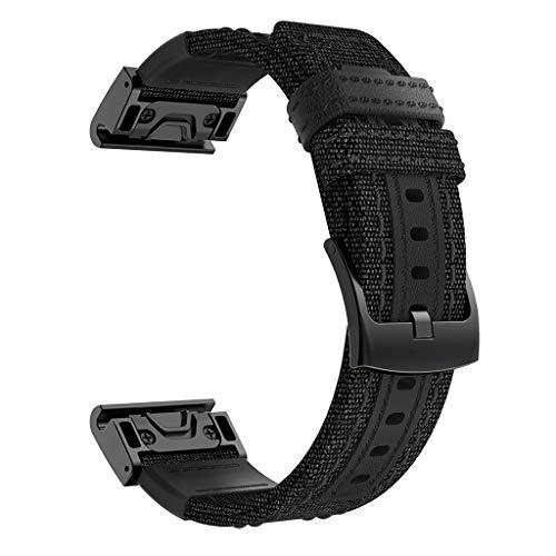 Hengzi Sweatproof Uhrenarmband aus Nylon für Garmin Fenix 5/5 Plus/Forerunner 935 (Schwarz)