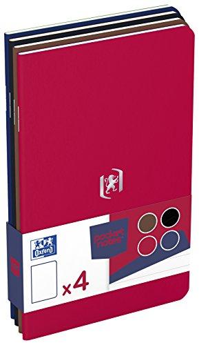 OXFORD 400077734 Notizheft Pocket Notes 4er Pack 9x14 cm 48 linierte Seiten rot schwarz braun royalblau - für individuelle Notizen Skizzenbuch Taschenbuch Reisebuch Notizblock Notebook Travel Diary (Rot-taschenbuch)
