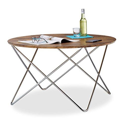 Relaxdays Table d'appoint ronde grande table basse en bois look vintage pieds croisés cadre en métal HxlxP: 50 x 90 x 90 cm, nature