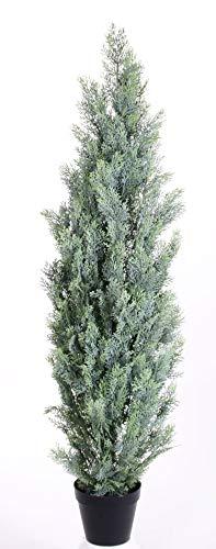 artplants - Kunst Zypresse Gerome im Dekotopf, grün-grau, 180cm - Plastikbaum/Deko Cupressus