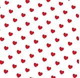0,5m Stoff Herzen weiß/ rot 100% Baumwolle Meterware 1,4m