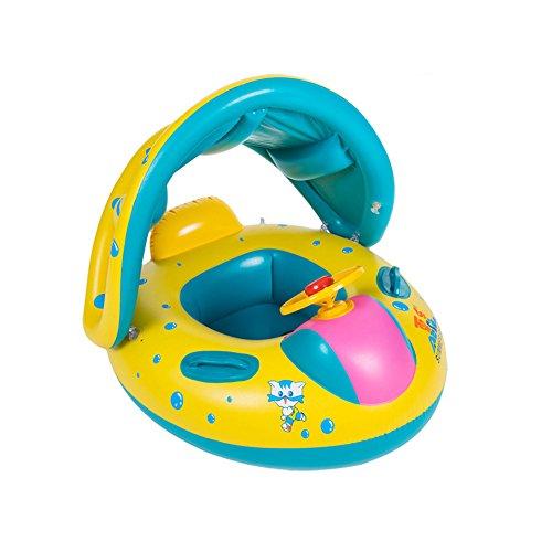 Preisvergleich Produktbild Aufblasbare Schwimmring Schwimmsitz Schwimmhilfe Schwimmreifen für Kinder Baby Boot mit Sonnendach