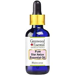 Greenwood Essential Pure Aceite esencial de anís estrellado (lllicium verum) con gotero de vidrio 100% de grado terapéutico natural vapor destilado 100 ml (paquete de tres) (10.1oz)