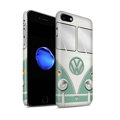 STUFF4 Matte Snap-On Hülle / Case für Apple iPhone 7 / Titan Rot Muster / Retro T1 Wohnmobil Bus Kollektion Türkisgrün