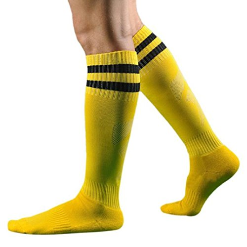 Kolylong 1 Paar Männer Herren Fußball Gestreift hohe Socken Eishockey (Gelb) (Schwarz Gestreiftes Fußball-socken)