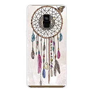 Aksuo for Samsung Galaxy A8 2018 Case,Women Girls boy Men Printed Transparent Clear Design Plastic Case with TPU Bumper Protective Cover,Wind Chimes New Dream Catcher