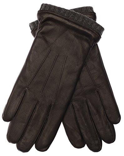 EEM Herren Leder Handschuh BJOERN, aus weichem Haarschafleder, mit Strickstulpe und Fleecefutter, braun anthra M