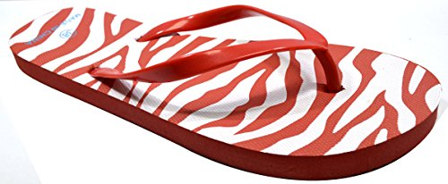 Octave , Tongs pour femme Zebra Design - Red
